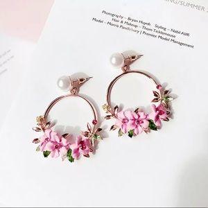 Beautiful Circle Pink Flowers Earrings